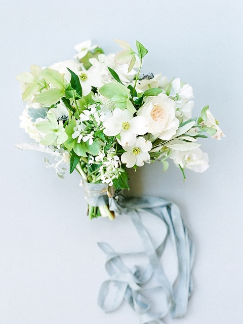 Nashville Wedding Photographer- Whimsical and natural white bridal bouquet with blue/gray silk ribbon on gray styling board